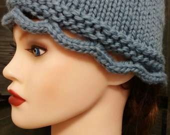Handmade, Hand Knit, Alpaca-Wool Blend Scallopped Edge Blue Hat - Ready to Ship