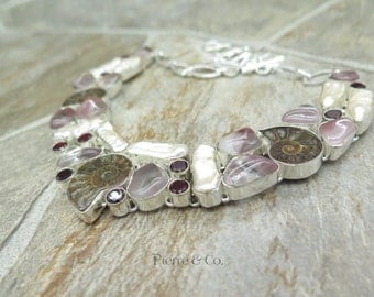 Ammonite Fossil Fresh water Pearl Agate Garnet Sterling Silver Necklace