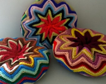 Crochet Round Throw Pillow-Multicolor