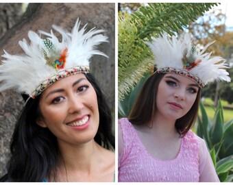 Native American Woman's  indian Feather Tribal Headband ~ Festival Halloween Costume ~ Vintage Headband- Boho Vintage -