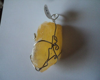 Yellow Calcite in 925 Wire Wrap (#123)