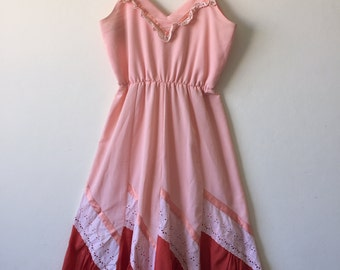 Vintage peach midi dress with broderie anglaise