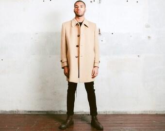 Camel Brown Winter COAT . Men's 70s Wool Overcoat  Long Jacket Wool Vintage Longcoat 1970s Outerwear Boyfriend Gift . sz Large XL