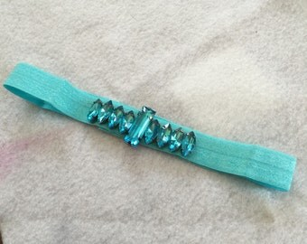 Teal Jeweled Baby Headband