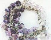 Purple amethyst bracelet, Ombre bracelet, Raw amethyst cluster bracelet, Silver colored, Gemstone bracelet, Charm bracelet, Rough amethyst