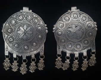 Morocco-Ethnic - Superb Elements for earrings or pendant – silver and niello with pendants