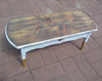 Farmhouse white distressed Heart Coffee Table