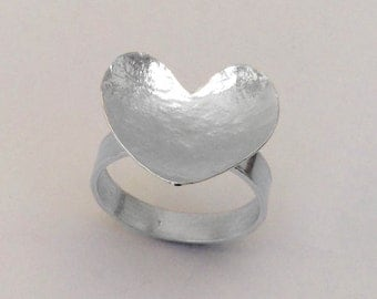 Hammered Heart Statement Ring. Sterling Silver Ring.