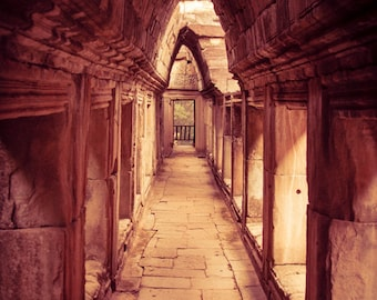 Cambodia, Angkor Wat, passageway, temple ruins, historical architecture, arches.