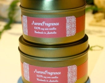 Tigerlily Blossom soy wax coloured candle in gold tin: AuroraFragrance