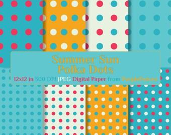 Summer-Sun POLKA DOTS  Scrapbook DIGITAL Paper / Wedding Invites, Card Making, Scrap Booking Paper/Instant Download/Printable/Polka Dot