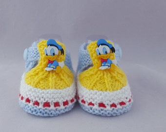 Donald Duck  baby booties, Daisy baby shoes  knit baby socks baby shoes  baby girls' socks kids knit socks gift for baby