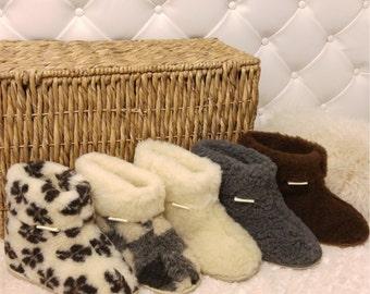 Hard Sole 100% Sheep Wool Boots Cozy Foot Slippers Sheepskin Women's  Mens