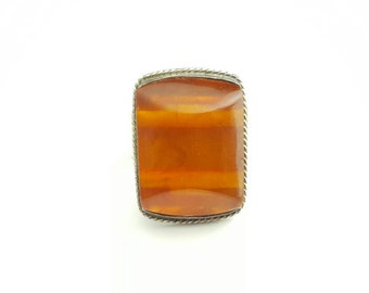 Vintage Sterling Silver Ring with Large Resin Cabochon- Size 7.5