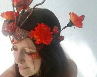 Fire Phoenix Costume Headpiece, Fairy Crown/Enchanted Floral Headband