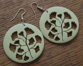 Leaf Earrings, Ginkgo leaf, maidenhair fern, resin, circle.