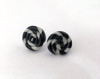 Swirly glow in the dark polymer clay stud earrings. Swirl small earrings.