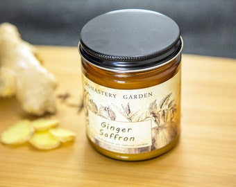 4 oz GINGER SAFFRON  Scented soy candle, natural wax candle, soy candles