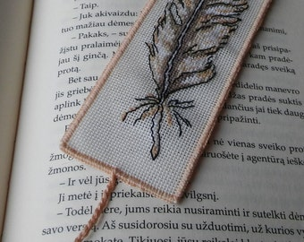 Bookmarks in handmade. Handmade paper tab. Cross stitch bookmark; unique handmade book accessory. Cross stich embroidery.