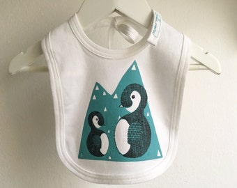Baby bib * Penguin * organic cotton