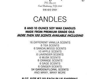 Candles-soy wax 10 ounce.over 100 scents