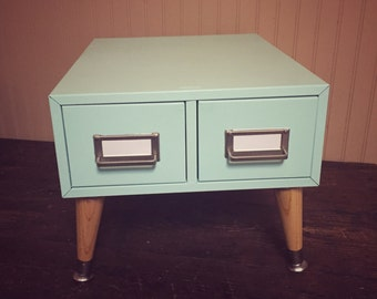 Upcycled Card Catalog in Baby Blue, File Cabinet, Organizer, Mid Century Metal Card File