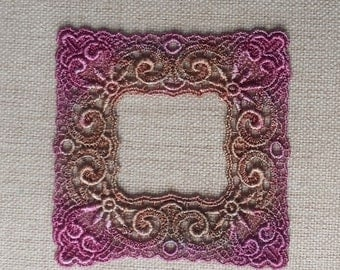 Venise Lace Hand Dyed frame applique motif in Antique Plum and rustic brown for journals, scrapbooking, quilting