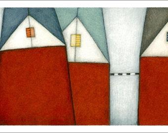 Red buildings fine art print