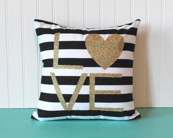 Love gold glitter pillow - heart, home decor pillow, throw pillow, decorative pillow