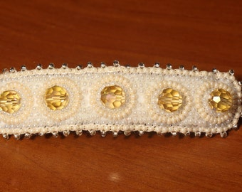 Milk and white handmade glass beads barrette with light yellow Czech crystals