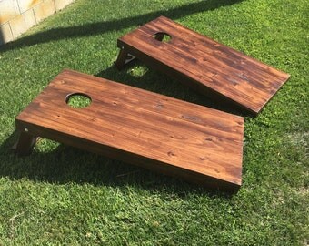 Rustic Cornhole bean bag toss game - Rustic handmade Solid Wood 2x4 frame