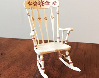 Dollhouse Furniture Grandma's Rocking Chair 1:12 scale, White Painted with floral details