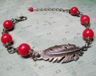 Red Coral Bracelet-Angel Bracelet-Vintage Bracelet-Gemstone Bracelet-Red Coral Jewelry-Angel Feather Wings-Romantic Bracelet-Christmas Gift