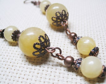 Jade Earrings-Boho Earrings-Bohemian Earrings-Dangle Earrings-Beaded Earrings-Ethnic Earrings-Gemstone Earrings-Copper Beads-Gift for Her