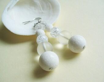 White Coral Earrings Clear Quartz Earrings White Gemstone Earrings Dangle Earrings White Coral Jewelry Beaded Earrings Gift for Her