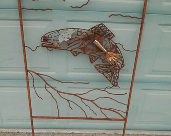 recycled metal salmon garden art