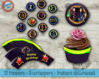 Descendants cupcake toppers and wrappers! Descendants toppers, Descendants wrappers, Descendants cupcake, Descendants supplies