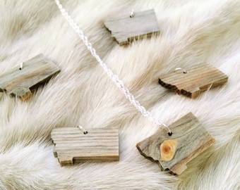 Wood Necklace,Montana State, Blue Pine Wood Pendant, Charm, Rustic, Wood Jewelry, Bridesmaid gifts, Rustic Jewelry, Wedding party gift