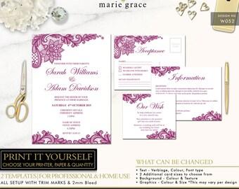 Purple Lace Wedding Invitation, Wedding Invitation Template, Printable Invite Set