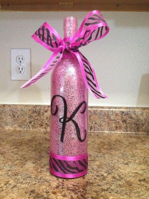 Items similar to glitter wine bottle bottles craft decor for Decorating wine bottles with glitter