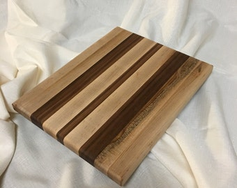 Cutting Board or Serving Board - Maple and Walnut. 11 inches By 8 inches
