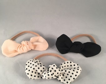 Set of 3 knot bows-baby girl bows-toddler bows-blush bow-polka dot-black bow-newborn headbands-girls bows-handmade-fabric bow