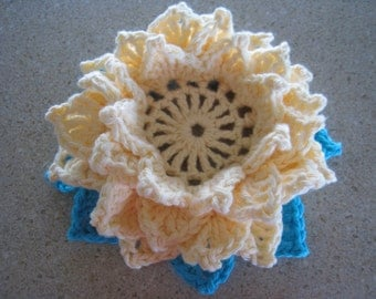 Five Layered Handmade Crochet Lotus Flower Candle Holder