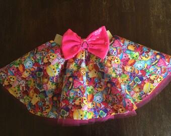 shopkins skirt- circle skirt - skater skirt - birthday skirt - big bow skirt - toddler skirt - twirl skirt