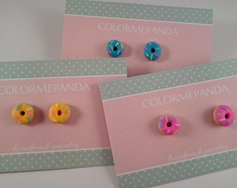Cute donut earrings - fluorescent pink, orange and blue with colorful icing - funny food jewelry