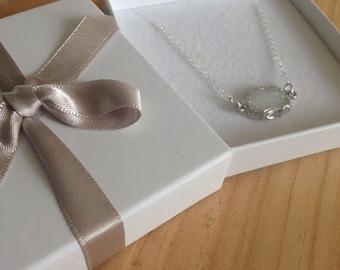 White Quartz Druzy Necklace