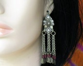 OLD KUCHI EARRINGS - Ornate Gauged Tribal Jewelry Dangle Earrings