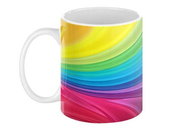 RAINBOW SWIRLS Ceramic Coffee Mug - 110z.