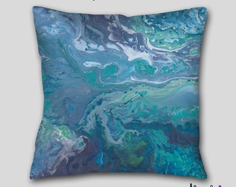 Teal gray throw pillow, Turquoise blue aqua, Abstract art, Decorative accent Pillow finished, Cover Case, Designer, Contemporary Home decor