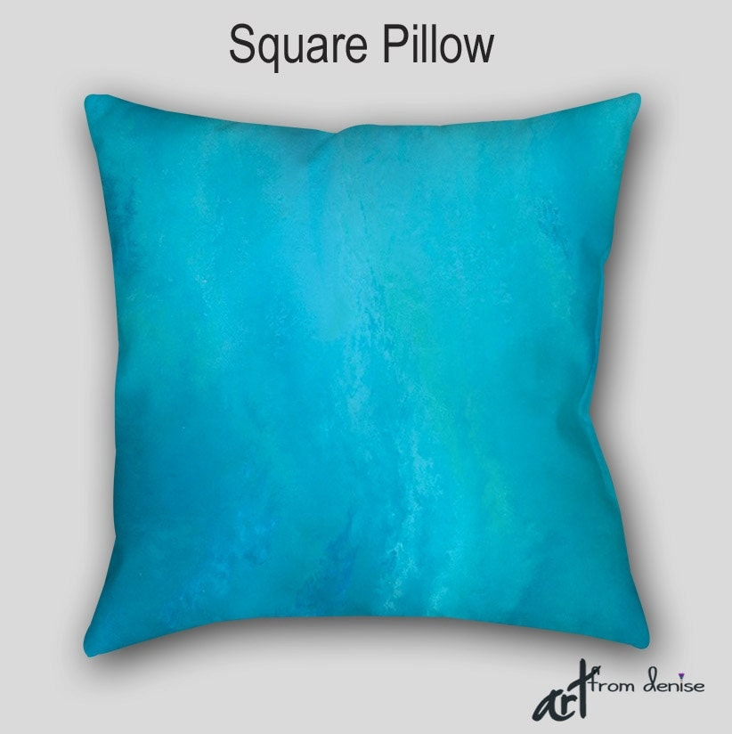 Throw Pillows Aqua Blue : Designer throw pillow Abstract Aqua teal turquoise blue